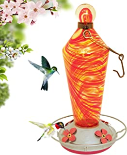Grateful Gnome - 蜂鸟喂食器 - 手工吹制玻璃 - 火焰棒 - 免费赠送配件 S 形挂钩、蚂蚁蛾、刷子和麻绳