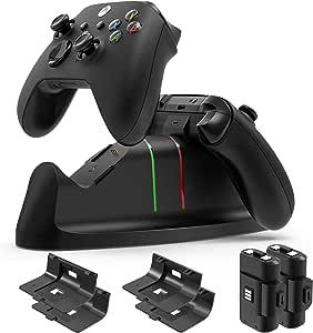 充电站带 1100 mAh 电池组适用于 Xbox 系列 X|S 控制器,YUANHOT 双无线控制器充电器,带大容量可充电电池,适用于 Xbox 系列 X|S 核心控制器