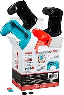 Joy-Con 手柄控制器手柄套件 适用于 Nintendo Switch 4 件装(2 个黑色、红色和蓝色) EVORETRO 出品