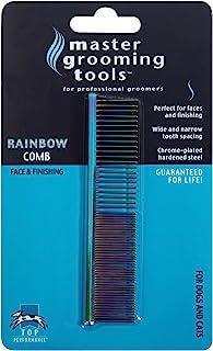 "Master Grooming Tools 彩虹灰狗梳 — 欧式梳理适用于梳理狗狗 - 细/粗,7½"""