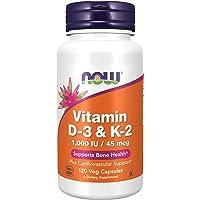 NOW 素食胶囊补充剂,维生素D-3和K-2、1,000 IU / 45 mcg,有益于身体*,支持骨头*,120粒