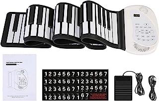 CALIDAKA 可卷起钢琴键盘 88/61 键 便携式电动柔性钢琴键盘 踏板和蓝牙 USB 可充电 MIDI 内置双扬声器 适合儿童成人初学者