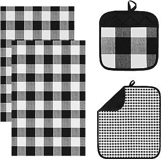 Ruisita 4 件黑白网格干燥垫套装,包括干燥垫圆形隔热垫洗碗巾厨房柜台垫吸水干燥垫