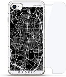 Luxendary Air 系列 360 束,设计师款手机壳 Plus 钢化玻璃 iPhone 8/7LUX-I8AIR360-CMADRID1 Madrid Streets Map 透明