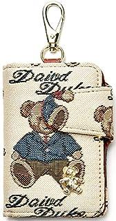 钥匙盒环盖钥匙扣钱包袋套带 6 个挂钩和时尚英式可爱熊