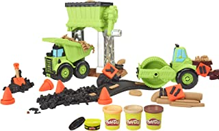 Play-Doh 车轮砾石码建筑玩具,含*路面建筑化合物,加上 3 种额外颜色