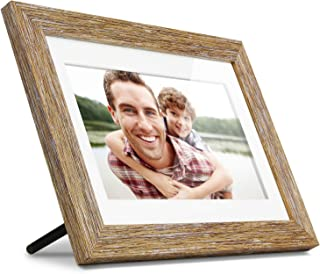 Aluratek 10英寸仿古木数码相框 带自动幻灯片 木质边框