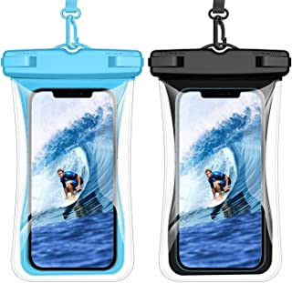 Weuiean 防水手机壳浮动防水手机袋,挂绳手机干燥袋适用于 iPhone 12/11/SE/XS/XR 8/7Plus,三星 S21/20/10/10+/Note,LG,像素高达 6.9 英寸 - 2 包黑色 + 蓝色
