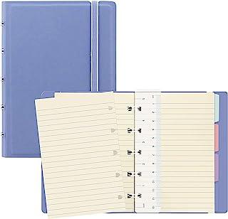 Filofax B115063U 可填充笔记本 袖珍型 112 奶油色 可移动页 包括 4 个索引标签(一个带口袋)、页面标记和弹性封口,Vista 蓝色
