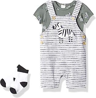 Petit Lem 男婴 3 件套:S/S 尿布衬衫,工作服+针织袜