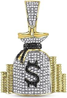 Dazzlingrock Collection 10kt 黄金男士圆形钻石钱袋堆叠魅力吊坠 3/4 克拉