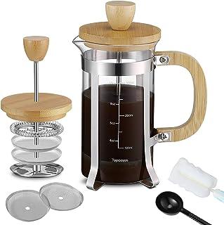 French Press 咖啡壶 12 盎司(350 毫升)带竹盖和手柄、耐热硼硅酸盐玻璃法式压榨机,带清洁刷和勺子