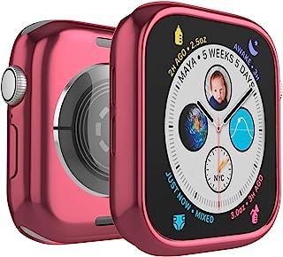 手机壳兼容 Apple Watch 系列 4,防震保护硅胶防撞 TPU 保护壳,适用于 Apple Watch 系列 4 42 mm 粉红色