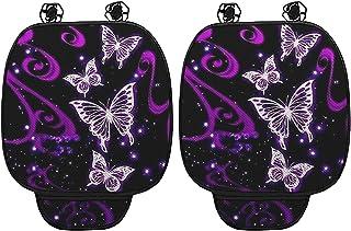 WELLFLYHOM 蝴蝶汽车座垫 汽车驾驶员座垫 2 件套 汽车座垫 前座底部保护罩 带口袋 紫色 汽车配件