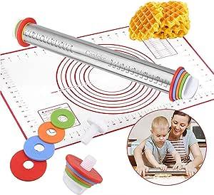 Acici 擀面杖,带 4 个可拆卸厚度环,带硅胶烘焙垫,适用于烘焙面团、披萨、馅饼、意大利面和饼干 YL08 红色