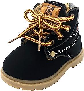 lakiolins 男婴工装靴系带及踝靴冬季雪地靴马丁靴