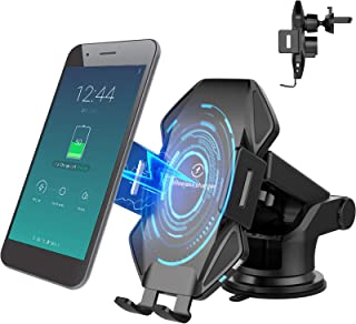 Vchiming 无线车载充电器支架,15W 快速充电自动夹紧车载手机充电器,挡风玻璃仪表板通风手机支架兼容 iPhone 三星 Galaxy、LG 和其他启用Qi的设备,黑色