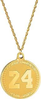 American Coin Treasures Mamba Forever 24KT 镀金双面*章纪念项链 | 绳子 60.96 厘米金色链 | 向 8号、24 号球衣致敬 | 1978-2020 G.O.A.T