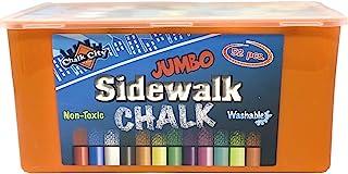 Chalk City 人行道粉笔,52支粉笔,12种不同颜色,特大粉笔,可水洗
