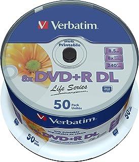 Verbatim DVD 双层 DVD+R DL 8.5 GB / 240 min 8x,全可打印白色无身份证,50 件