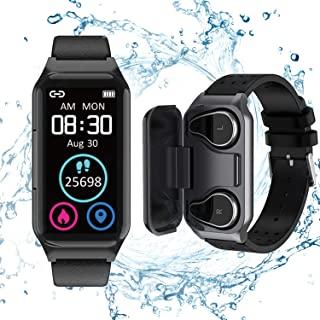 智能手表耳塞 2 合 1 活动手环无线立体声耳机带 TWS *健身追踪器、计步器、卡路里计数器、心率、*、运动耳机,适用于 iPhone 安卓手机