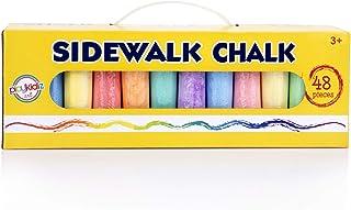 Playkidz 人行道粉笔 48 件 – 各种颜色非常适合户外玩耍,配有方便的手提箱和手柄