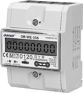 ORNO WE-516 电表 DIN 导轨 适用于带 MID 证书和 RS845,0.25A - 80A.3 x 230V/400V,50/60Hz,1000 imp/kWh
