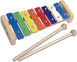CASCHA 彩色木制钟琴,儿童木琴,带两个木槌和5首儿童歌曲,3 岁以上儿童乐器