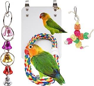 GEKUPEM 7 英寸鸟镜,带绳鲈鱼长尾鹦鹉摆动玩具适用于灰色鹦鹉鹦鹉锥体爱情鸟金丝雀小金刚鹦鹉