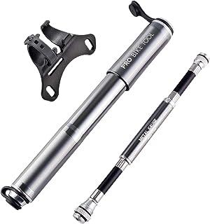 PRO BIKE TOOL 自行车泵,带规格,适合 Presta 和 Schrader – 准确充气 – 迷你自行车轮胎泵,适用于公路、山地和越野车,高压 100 PSI,包括安装套件