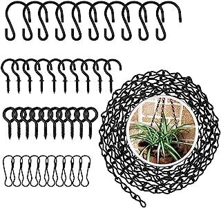 KINDPMA 挂篮链 41 条装 156 英寸挂链带挂钩夹螺丝钩环适用于鸟类喂食器、广告牌、黑板、花盆和装饰品,黑色