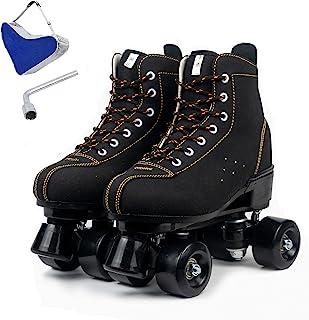 Detigsia 户外溜冰鞋,女式男式,麂皮高帮溜冰鞋,女孩闪亮 4 轮滑冰鞋,带手提袋