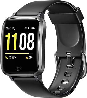 Letsfit 智能手表健身追踪器带心率监测器,活动追踪计步器,1.3 英寸彩色屏幕计步器智能手表,IP68 防水卡路里计数器*监测器,男女适用
