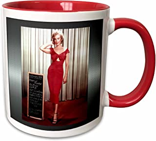 3dRose FabPeople - 艺术和娱乐 - Niagara 玛丽莲梦露 (1953) (PD-US) - 425 克双色红色马克杯 (mug_107179_10)