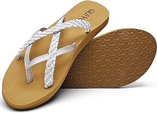 QLEYO 女式人字拖凉鞋带足弓支撑,瑜伽垫步行凉鞋人字拖,手工制作编织绑带人字拖,适合旅行 / 海滩 / 泳池/派对