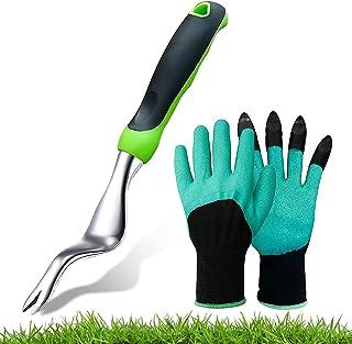 LUBENKIS 手动除草工具和园艺手套,蒲公英挖草机花园除草工具,带人体工程学手柄,适用于花园草坪庭院农田移植种植护理园艺盆景工具