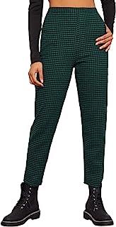 WDIRARA 女式休闲格子弹性腰斜口袋紧身九分裤