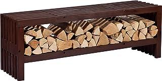 dobar 花园长凳 Svensson 带木柴架的储物空间,壁炉木架,防风雨釉座凳,松木,138 x 32 x 45.5 厘米,棕色