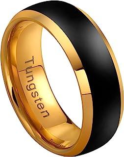 Urban Jewelry 男式钨戒指 - Dystopian Street 时尚 - 哑光黑色和光泽金色 - 纯钨材料