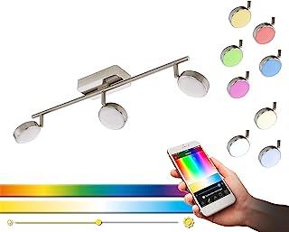 EGLO 的 LED Spots CORROPOLI-C - 智能家居点亮银白色5瓦 - 镍哑光钢和白色塑料 - 三点-EGLO Connect Spot 带颜色变化和遥控器可控制