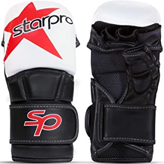 Starpro MMA 格斗手套训练 - 泰拳跆拳道武术空手道战斗笼搏击拳袋拳击手套|男式和女式|合成皮革黑白