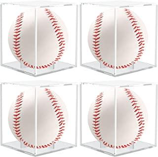 Anwenk 棒球展示盒 棒球套 防紫外线亚克力立方体 方形透明官方棒球签名展示盒 官方尺寸棒球*展示盒 1 件装