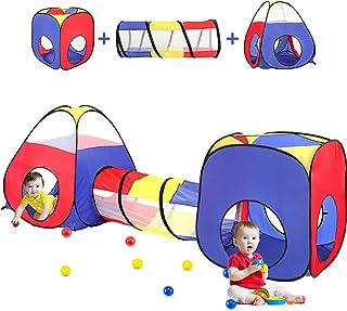 儿童游戏帐篷带球洞 + 爬行隧道 + 城堡帐篷,弹出式幼儿游戏屋适合男孩和女孩礼品,可折叠儿童游戏帐篷玩具室内和室外游戏(彩色堡垒)