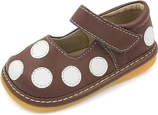 Squeaky 鞋子 — 黑色,棕色粉色波点玛丽珍学步女童鞋