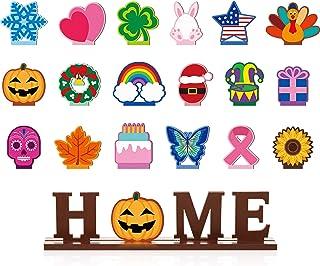 家庭餐桌装饰套装 18 件可互换木质装饰标志 家庭字母标志 祝福桌子中心摆件 适用于餐厅装饰桌面 (棕色)