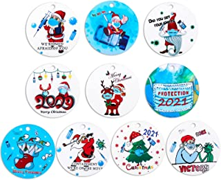 Jetec 10 件圣诞饰品装饰挂饰圆形红色圣诞装饰品 2021 隔离圣诞装饰纪念圣诞树装饰圣诞树装饰