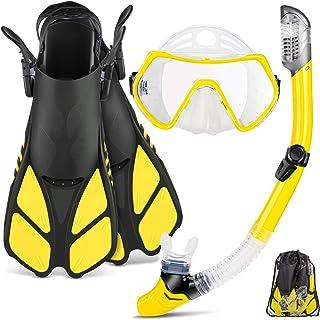 ZEEPORTE 面罩脚踏*管套装,成人浮潜装备,全景潜水面罩,迷航鳍,干口*管 + 旅行袋,适用于膝游泳的*管