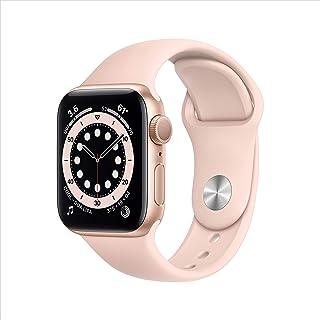 新款 Apple Watch 系列 6 (GPS,40mm) - 金色铝制外壳带粉色沙运动表带
