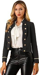 Allegra K 女式工作立领蒸汽朋克前开扣装饰露脐外套
