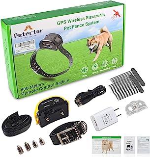 GPS 无线狗狗围栏系统,电动宠物围栏控制系统,带防水可充电训练边界项圈,适用于超过 5 磅露营场的狗狗和猫